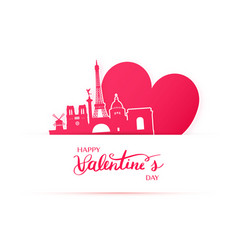Red heart and silhouette of paris city vector