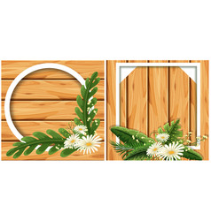Round and square frame on wooden board vector