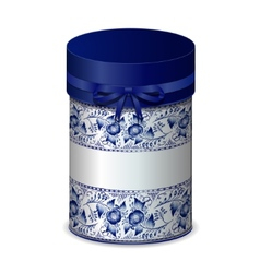 Round gift box with bow and blue pattern in Gzhel vector