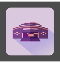 Round purple building icon flat style vector image