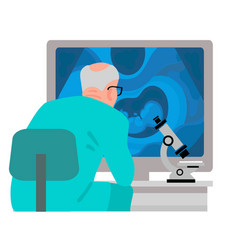 scientist looking at computer screen with vector image