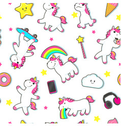 Seamless pattern with cute unicorn characters vector