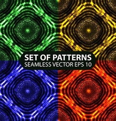 Set of 4 seamless glowing ethnic patterns vector