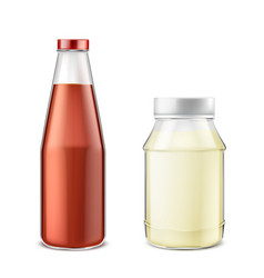 Set of bottles with ketchup and mayonnaise vector
