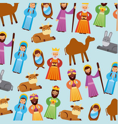 set of people animal manger christmas holiday vector image