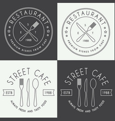 Set vintage restaurant linear logo badge and vector
