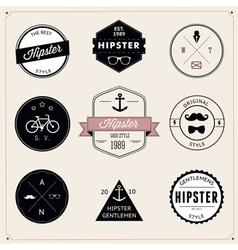 set vintage styled design hipster icons vector image
