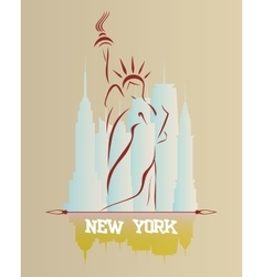 Silhouette of the statue liberty vector