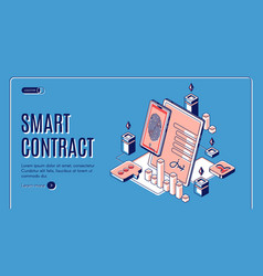 smart contract isometric web banner e-signature vector image