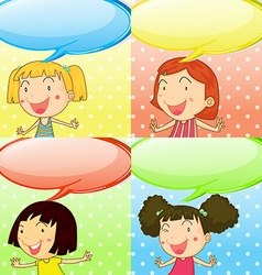Speech bubbles and cute girls vector