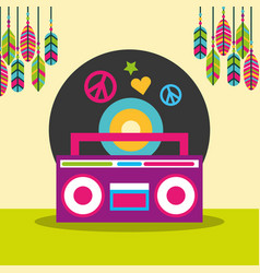 Stereo radio vinyl disc peace and love feathers vector