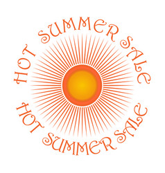 Sun logo icon and inscription - hot summer sale vector
