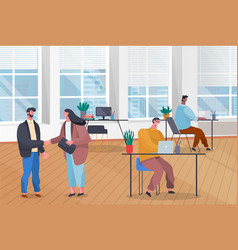 team works in office making deal employees vector image