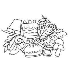 Thanksgiving doodle art with hand draw vector image