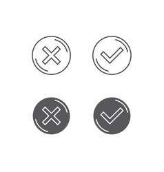 Thin line check mark icons vector