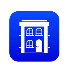 two-storey residential house icon digital blue vector image