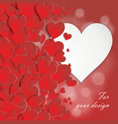 Valentine card with volumetric hearts vector image