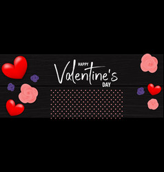 valentines day wood 3d background vector image