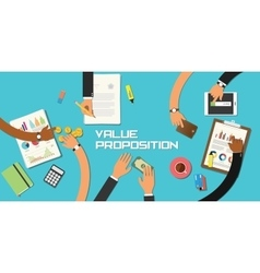value proposition concept team work business vector image