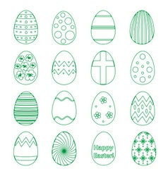 Various outline Easter eggs design collection vector