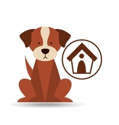 Veterinary dog care house dog icon vector