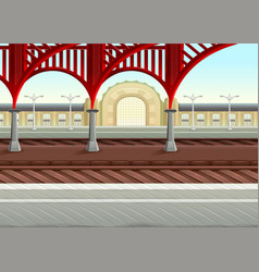 View on railways in the train station vector