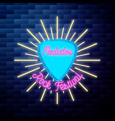 vintage rock festival emblem glowing neon sign vector image