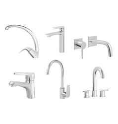 Water chrome tap kitchen tools plumbing vector