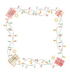 Watercolor christmas frame with garlands and gifts vector