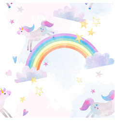 watercolor unicorn pattern vector image