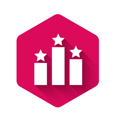 White ranking star icon isolated with long shadow vector