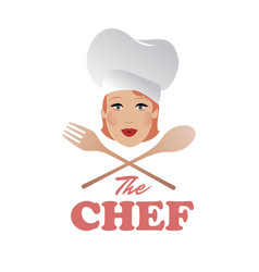 Woman chef beautiful cook with wooden spoon vector