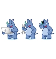 Blue Rhino Mascot with laptop vector image vector image