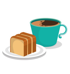 coffee and bread delicious breakfast vector image