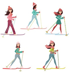happy girls on cross country skiing vector image