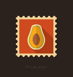 papaya flat stamp tropical fruit vector image vector image