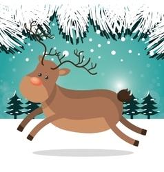 reindeer happy landscape white snow design vector image