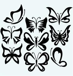 Set symbol butterflies vector image