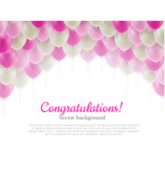 congratulation card pink flying balls background vector image