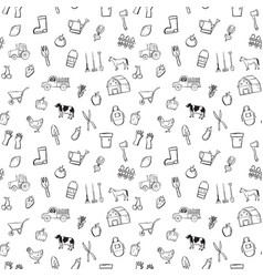 farm seamless pattern background set vector image