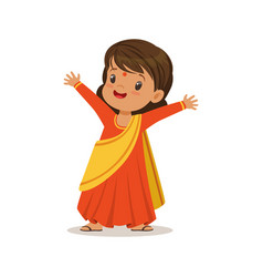 girl wearing sari dress national costume of india vector image vector image