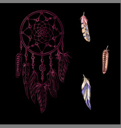 hand drawn ornate pink dreamcatcher vector image