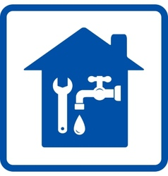 plumbing sign with house vector image vector image