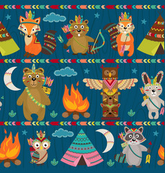seamless pattern with tribal animals night vector image vector image