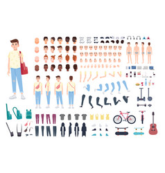 teenager character constructor boy creation set vector image