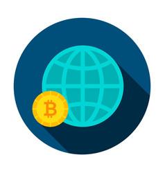 bitcoin global circle icon vector image vector image