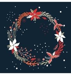 Christmas New Year Holiday wreath Hand drawn vector image vector image