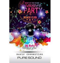 Disco Night Club Flyer layout with Speaker shape vector image vector image