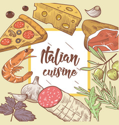italian cuisine food menu design template vector image