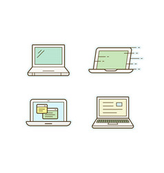laptop icons vector image vector image